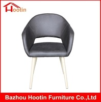 Modern Home Furniture High Quality Faux PU Black Leather Heat Transfer Fake Wooden Round Four Legs Armchairs for Sale