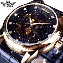 Top Brand Luxury Winner Mechanical Watches Black Men Leather Strap Sapphire Crystal Automatic Watch