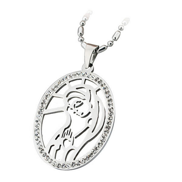 Yiwu Aceon Silver 316 Stainless Steel Wholesale Christ Pendant European Religious Saints Michael Necklace