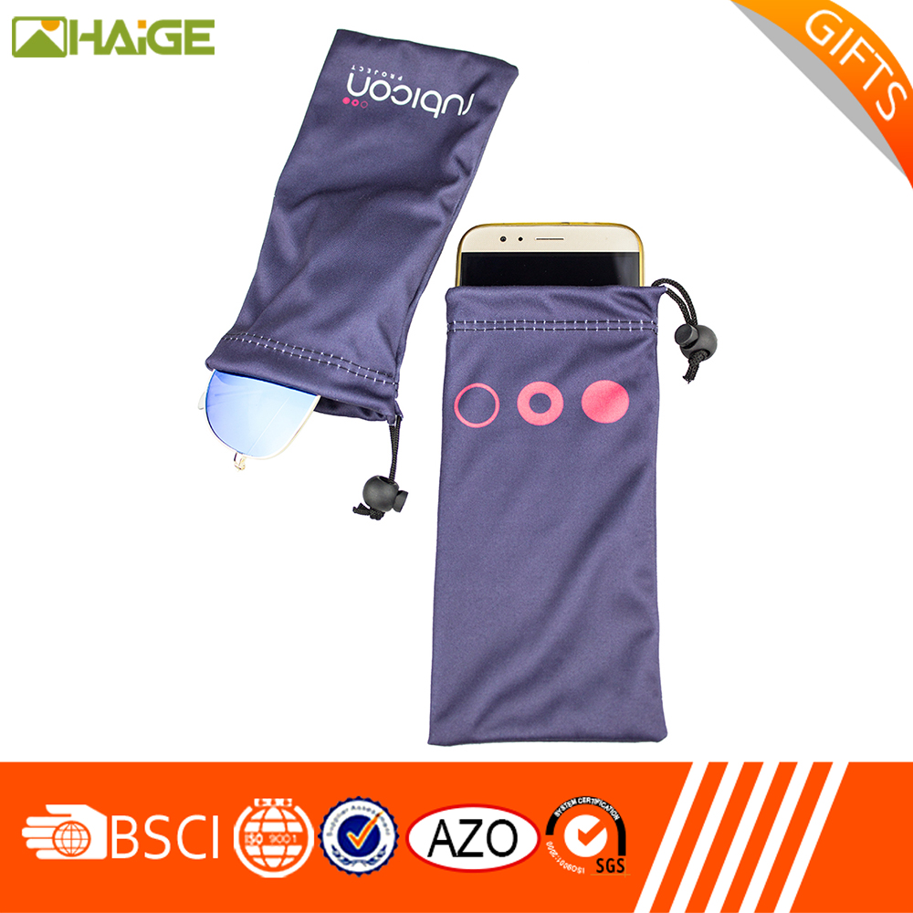 New promotion screen printing drawstring microfibre sunglasses pouches With Professional Technical