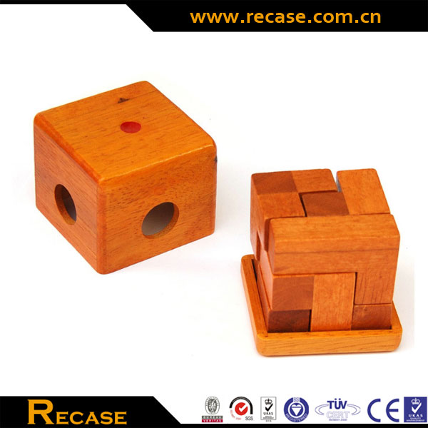 7 pieces wooden cube puzzles games customize