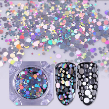 Round Shape Mix Size Holographic Nail Sequins Decoration Holo Laser Silver & Gold Nail Art Glitter