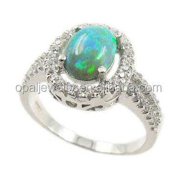 High Quality 925 sterling silver australian opal rings emerald gemstone opal and diamond engagemnet rings