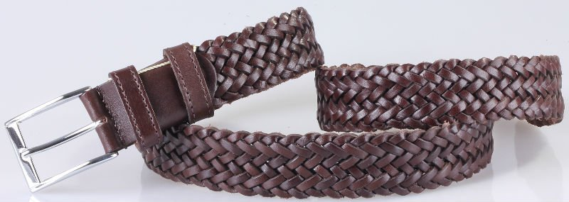 35 mm - 3.5 cm Braided Leather Belt For Men -355045OS Model-
