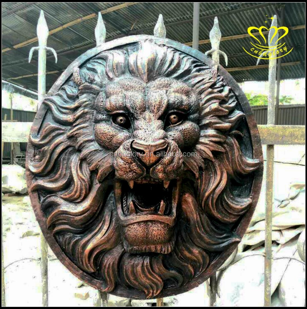 custom design wild animal metal lion head sculpture wholesale for sale
