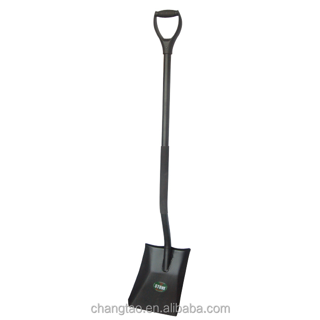 steel square garden shovel ,steel tube handle with D plastic grip