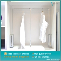 Popular indian wardrobe designs soft close pull down clothes rack