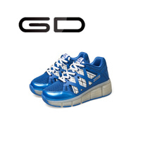GD shiny LED kids shoes easy slip on hook&loop sneakers for boys