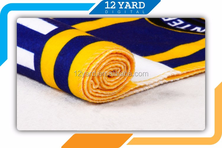 hot sell fashion customized printed designs sports football team soccer fan scarf