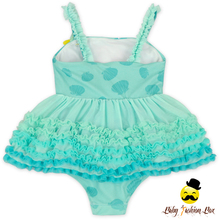 Kids Mint Green Gradient Color Spaghetti Strap Little Girl One Piece Ruffle Puffy Dress Swimsuit Beach Clothes