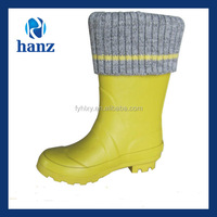 newest used girls lovely yellow cheap kids fur lined rubber boots