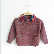 KS30156A 2016 hot Children boy solid color warm wool sweater,wool sweater design for boys kids