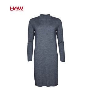 100% Wool Yarn Dyed  Knitted Casual Ladies Long Wool Sweater Dress