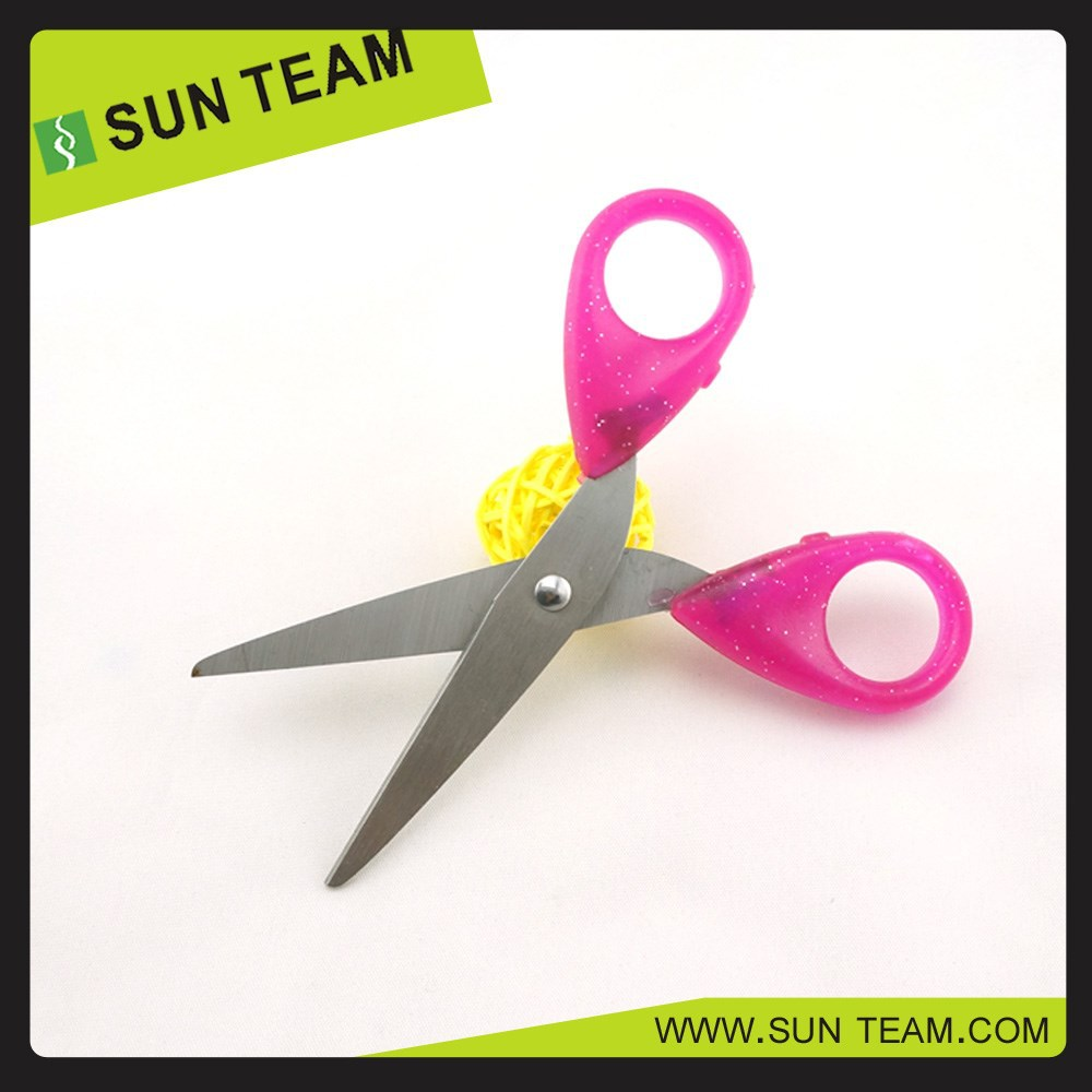 "SC018A 5"" Bling round hole handle best quality student scissors for paper cutting"