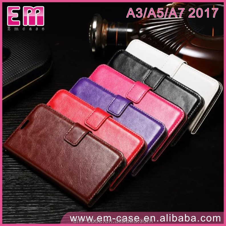 2017 New Design Fashion Filp Stand Wallet Oil Wax Genuine Leather Cell Phone Case for samsung A3 A5 A7 2017