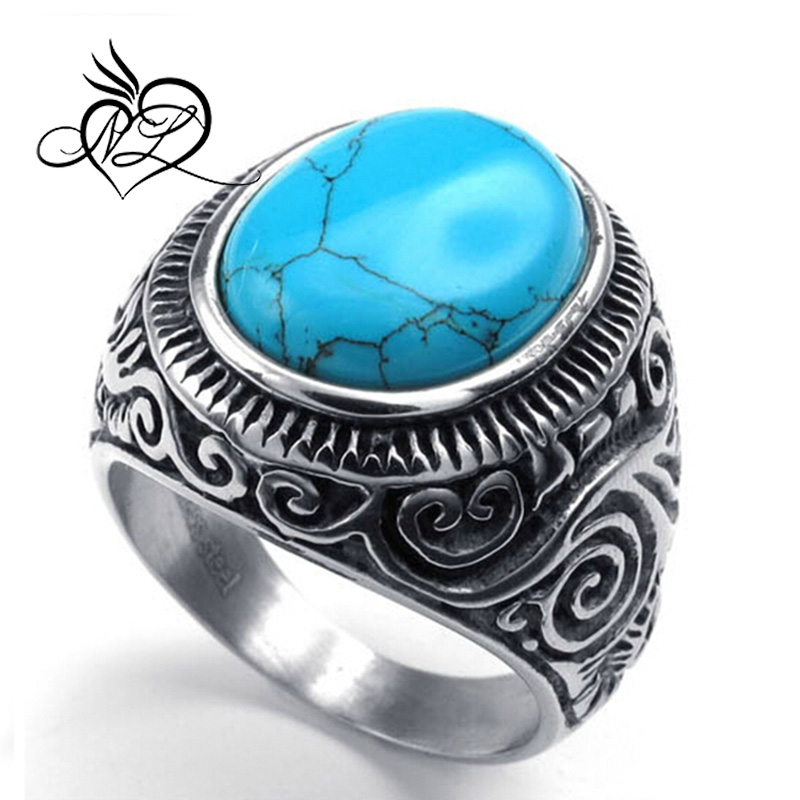 Mens Womens 316L Stainless Steel Turquoise Retro Ring, Classic Vintage, Blue Silver