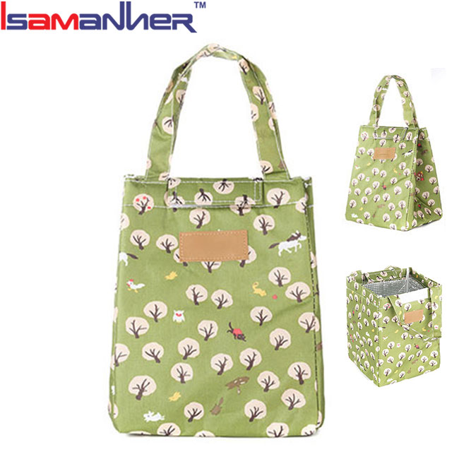 Comfortable fabric travel cooler lunch bag picnic insulated bento bag