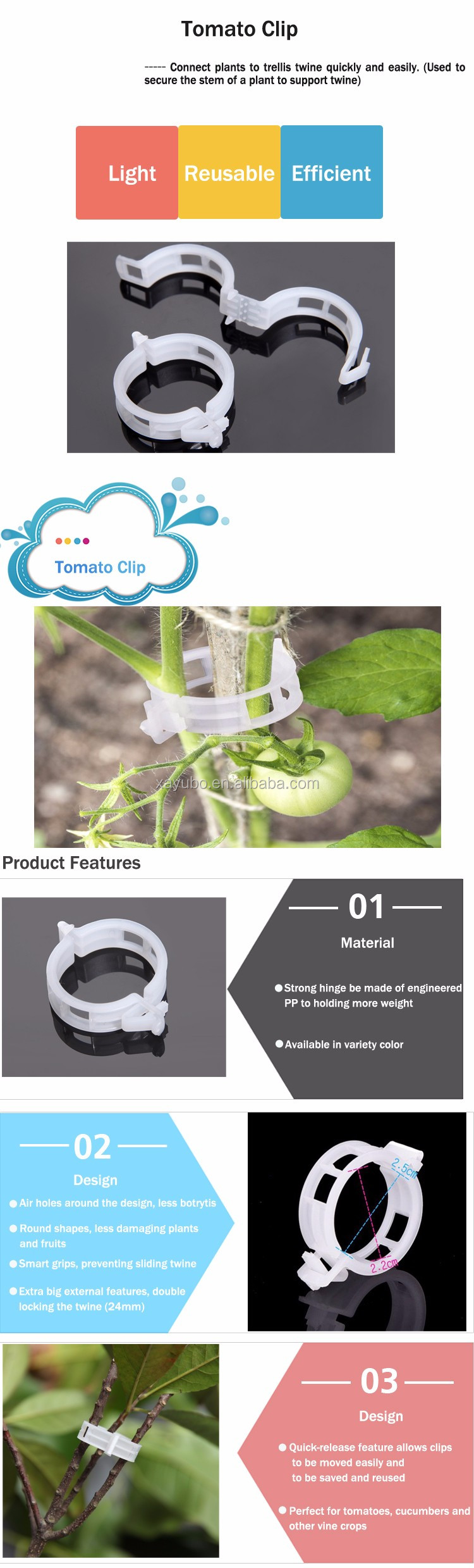 Wholesale Good Quality Cheap Reuse White Plastic Tomato Clips For Garden