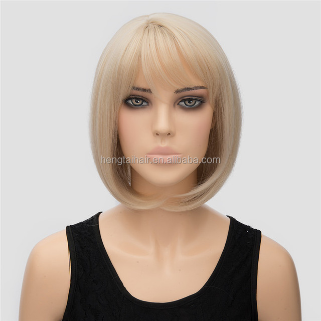 High Temperature Wire Light Bronde Wigs Explosion Models Selling Popular Daily BOBO Head Straight Short Hair Wig