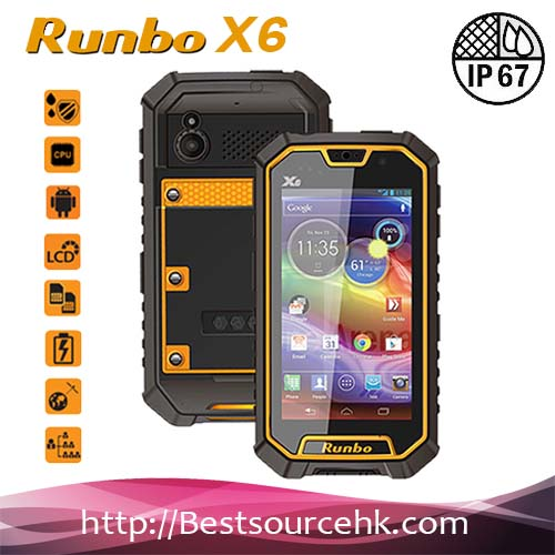 2017 New Listing 5.0 Inch Runbo X6 IP67 Rugged 3G SmartPhone MTK6589 Quad Core Android 4.2 waterproof phone with walkie talkie