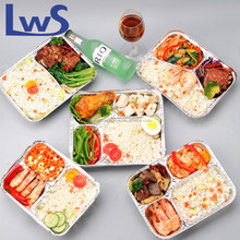Disposable restaurant food tray take out aluminum foil food container 3 compartment