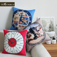 New Home Decorative Lovely clock Sofa Cushion Cover thicken the ultra soft flannelette Pillow Case Free shipping
