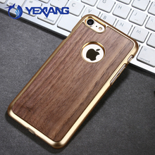 Electroplate PC Bumper Bamboo Cell Phone Case For Iphone 7 Natural Wood Back Cover