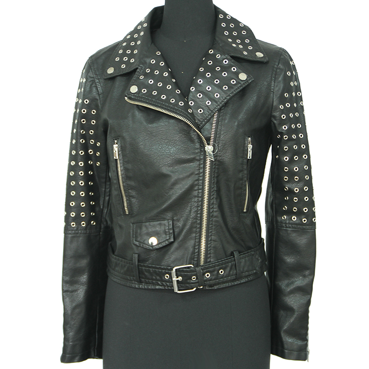Women rivets lapel collar black biker pu leather jacket