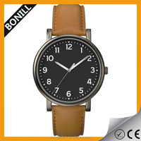 New arrival low price leather band watch men quartz brown leather watch