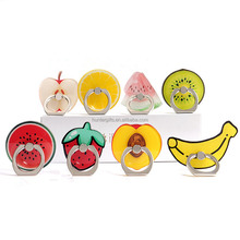 Novelty funny cute custom fruits shaped smart phone finger ring phone holder and stand for mobile cellphone