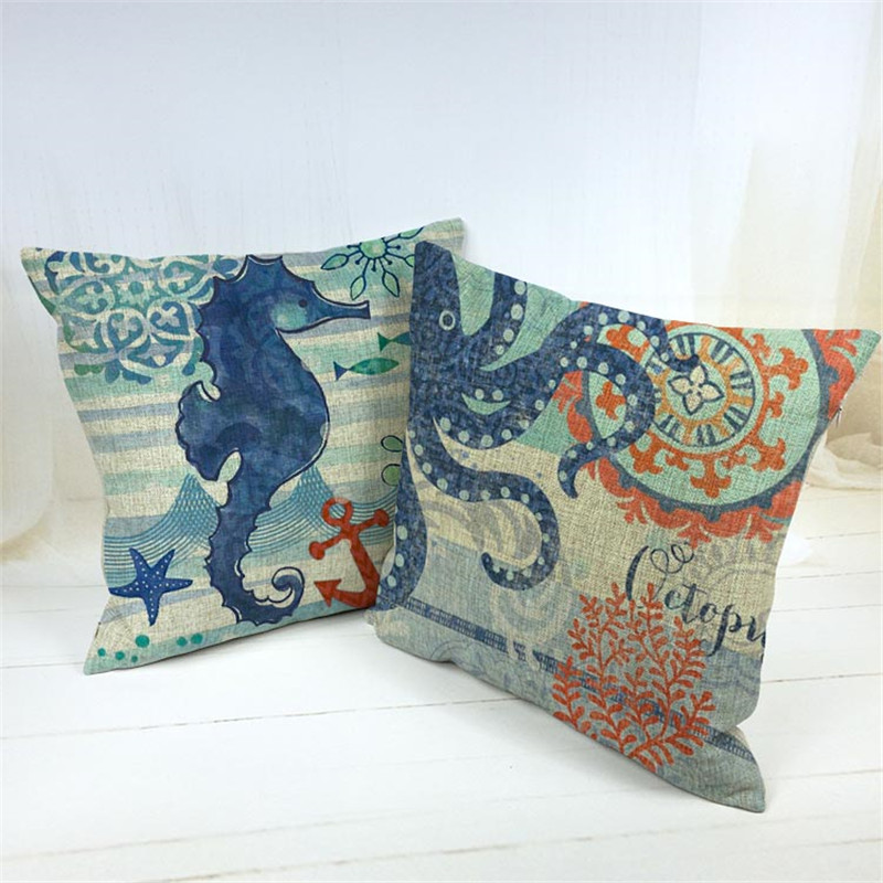 <strong>Fashion</strong> Cotton Hippocampus Octopus Cushion Pillow Case 45Cmx45Cm Square Office Chair 1 Side Printing decor Cushion covers