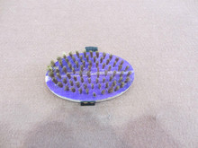 oval/round type brass wire brush with wooden handle