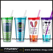 FDA Certification plastic custom coffee cup with straw