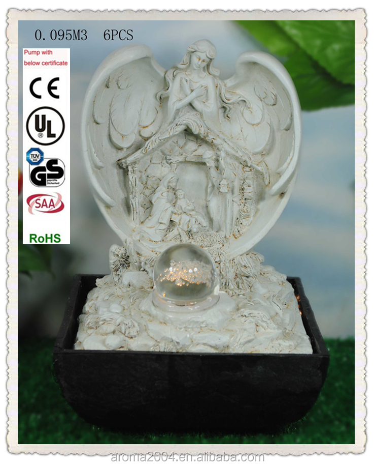 religious table decoration holy family angel water feature