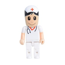 Custom logo White plastic Nurse design USB flash drive USB3.0 8G 16G 32G 64G Hospital promotion gift Pendrive