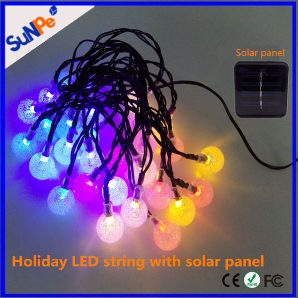 Solar energy waterproof holiday LED light string for decoration wedding party christmas tree