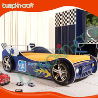 Cheap price 2016 latest boys sport racing car bed is design for children in E1 MDF board and colorful painting