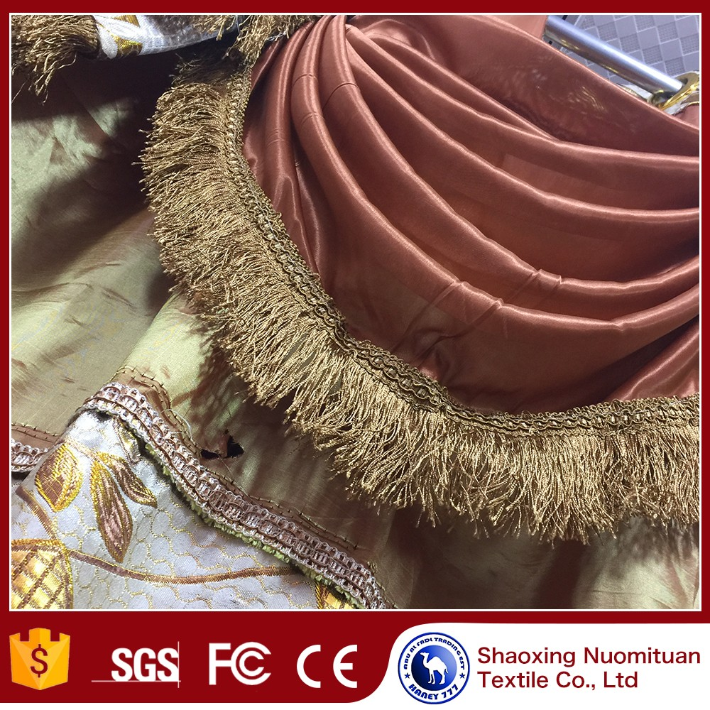 Good price made to order flocking european style window drapes curtains wholesale jacquard curtain