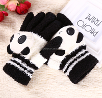 lovely thick plush winter warming screen touch knit glove with puppet with low price