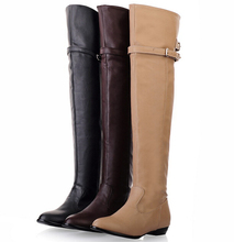 2016 high fashion women winter leather knee boots