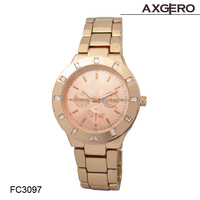 Hot selling vogue wrist watch, quartz lady watch stainless steel watch rose gold