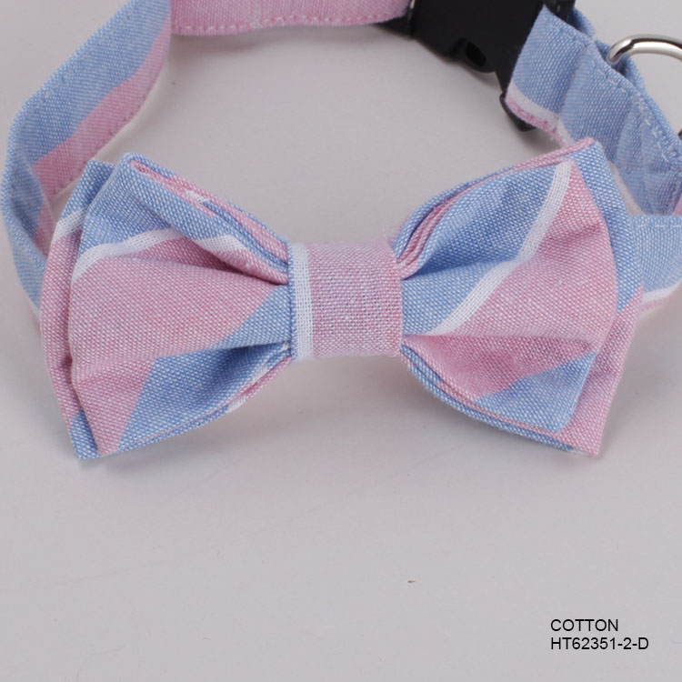 Pet Accessories Cotton Pink Stripe Cat Dog Collars Bow Ties Supplier