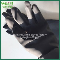 Long Sleeve Black rubber heavy duty gloves rubberex