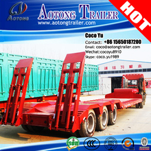 AOTONG BRAND low flatbed 20ft container semi truck trailer concave frame 3 axles gooseneck bed low trailer