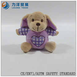 cute/lovely baby plush/stuff toys/animal toys/purple clothes dog with ring, Customised toys,CE/ASTM safety stardard