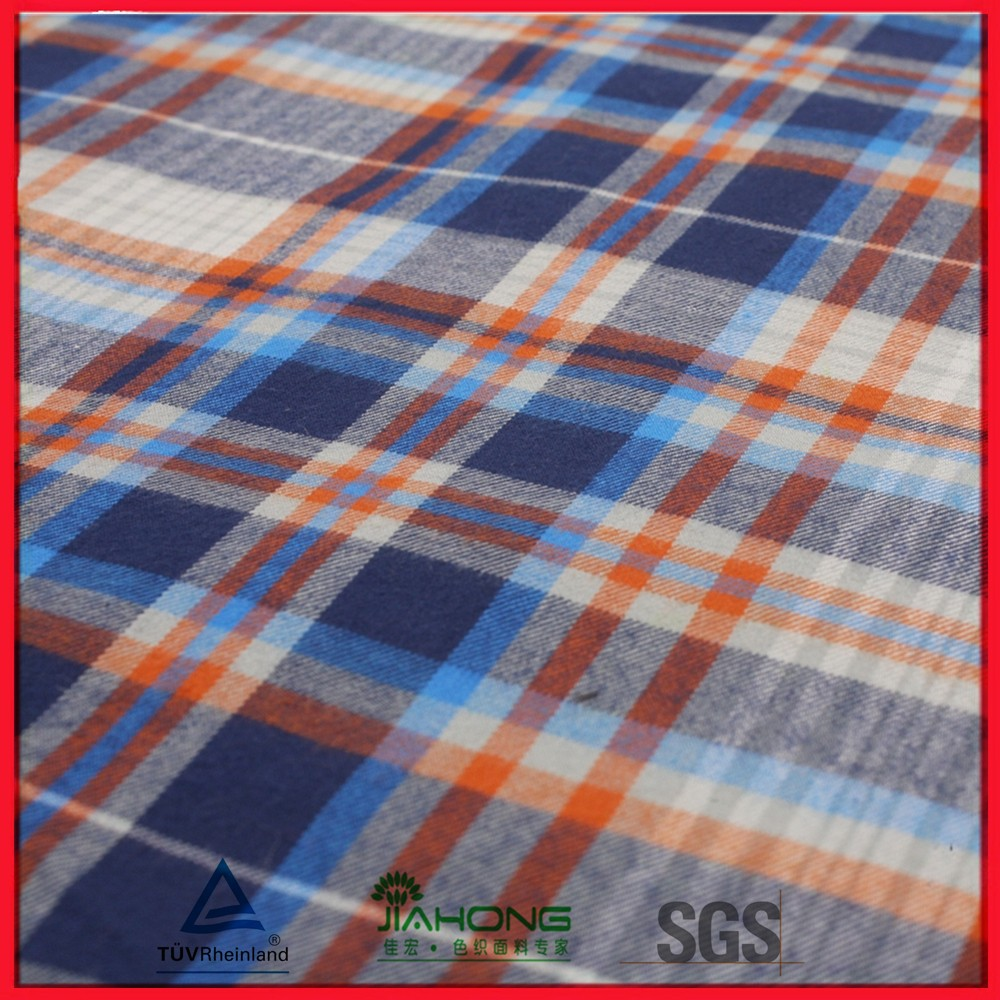 Yarn dyed plaid mens flannel cotton fabric
