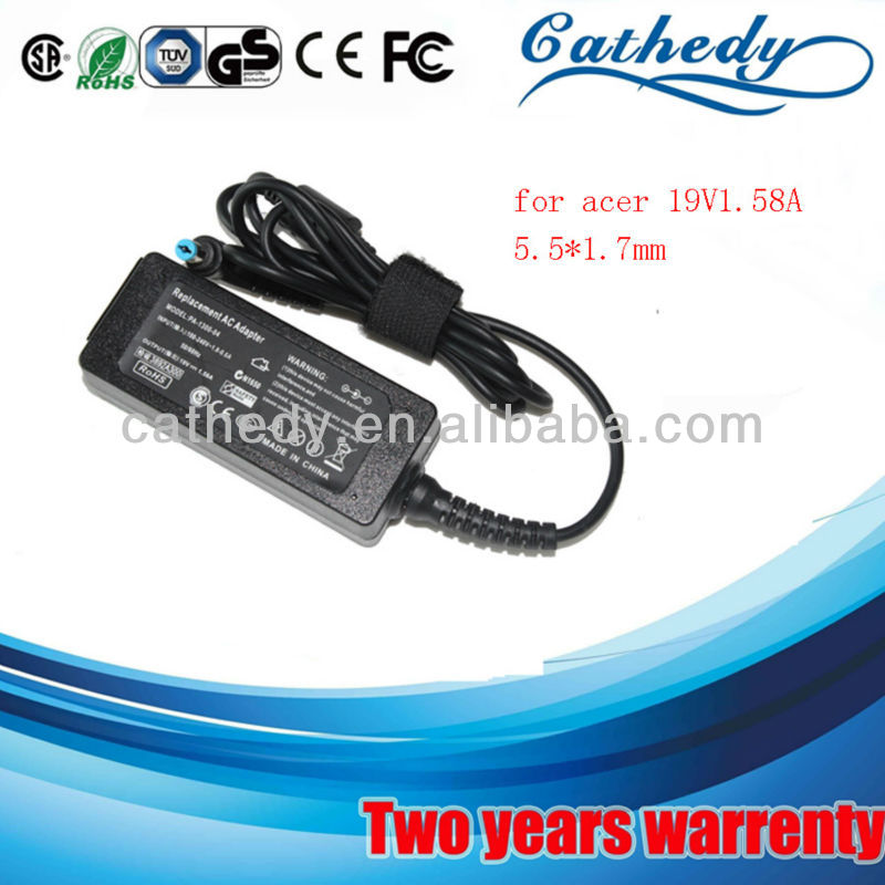 2013 mas mejor cargador adaptador de notebook for acer 19V1.58A 5.5*1.7mm 30w