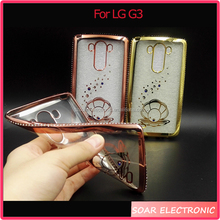 Luxury Rhinestone 3D Hollow Diamond Grid Soft TPU Case For LG G3 Cover