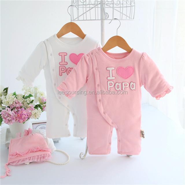 Wholesale cheap designer infant fashion newborn baby clothes cotton baby I love papa romper girl bodysuit for winter