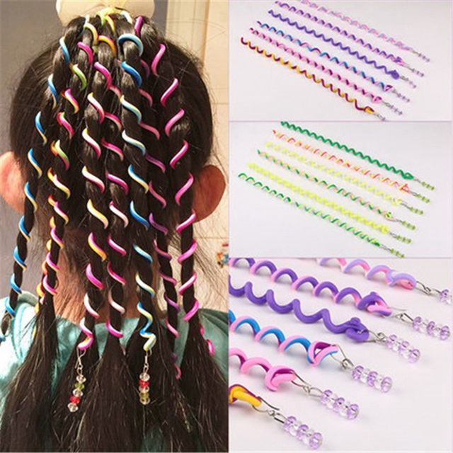 6pcs/pack Rainbow Color Headband Cute Girls Hair band Crystal Long Elastic Hair Bands Headwear Hair Accessories